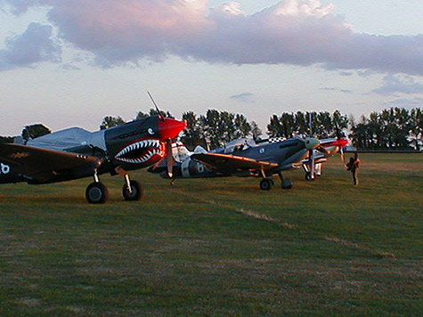 Curtis P40 and Spitfires parked photo